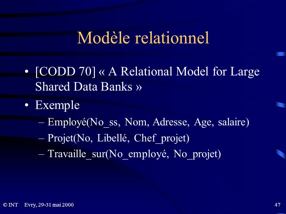 Modèle relationnel[CODD 70] « A Relational Model for Large Shared Data Banks » Exemple. Employé(No_ss, Nom, Adresse, Age, salaire)